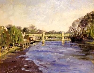 Kew Railway Bridge, London, 8x10 ins, oils on board.