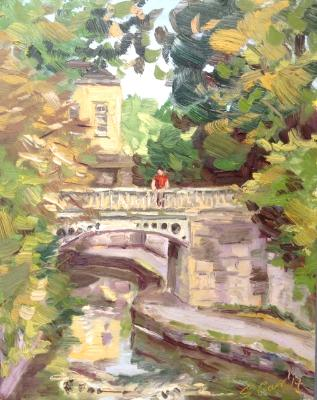 The Canal in Sidney Garden's, Bath, 10x8 ins, oils on board.