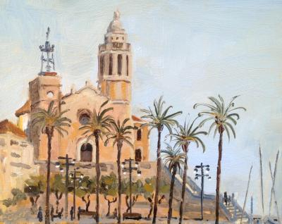 Iglesia de San Bartolomé y Santa Tecla, Sitges, Spain, oil on wood, 6x8 ins