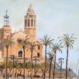 Iglesia de San Bartolomé y Santa Tecla, Sitges, Spain, oil on wood, 6x8 ins