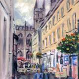 Church Street, 6x8 ins, oils.