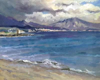 Stormy skies, towards Torreguadiaro, Spain, oil on board, 10x8 ins