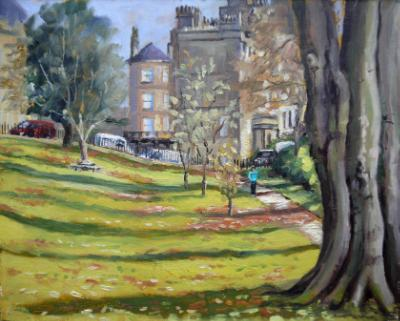 Somerset Gardens, Bath, 10x8 ins, oils