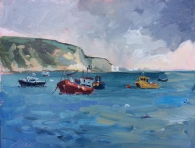 Old Harry Rocks, painted from Swanage.  10x8 ins, oils on panel.