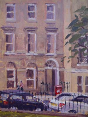 Queens Square, Bath, 7x5 ins, oils