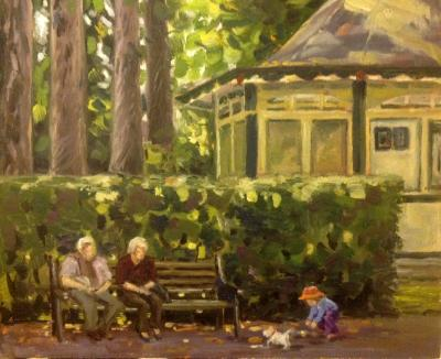 Saturday afternoon by the Cafe, oil on board, 8x10 ins.