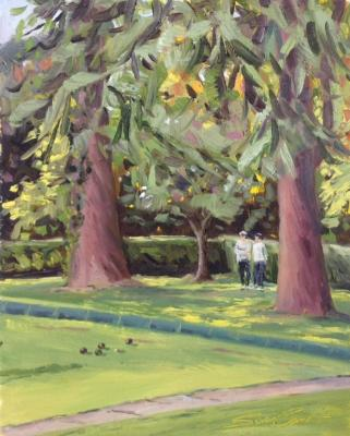 The Bowling Green, oil on board, 8x10 ins.