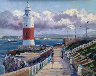 Europa Point Lighthouse, Gibraltar, oil on wood, 10x8 ins