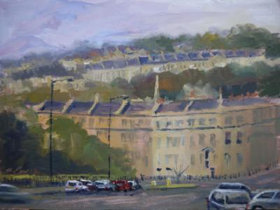 George's Place, Bath, 8x6 ins, oils