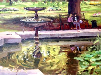The Fountain, Old Town Gardens. Oil on Board, 7x5 ins.