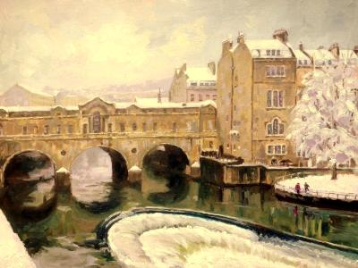 Winter, Pulteney Bridge, 16 x 12 ins, oils