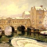 Winter, Pulteney Bridge, 16 x 12 ins, oils