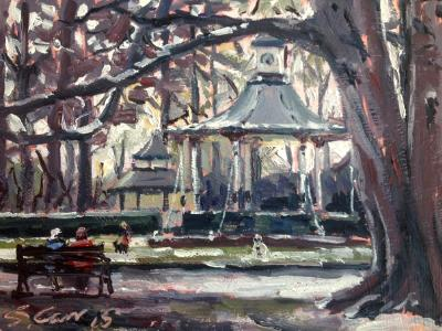 Late January Snow, Old Town Gardens.  Oil on Board, 7x5 ins.