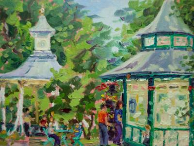 Cafe & Bandstand, 7x5 ins, oil on board.