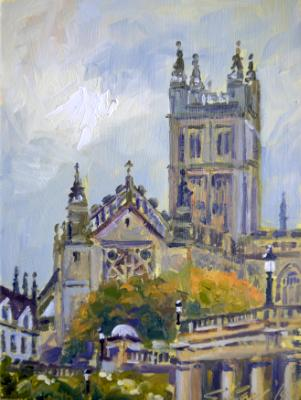 Evening Light, Bath Abbey, 6x8 ins, oils