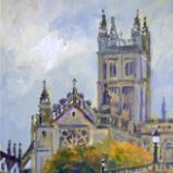 Evening Light, Bath Abbey, 6x8 ins, oils