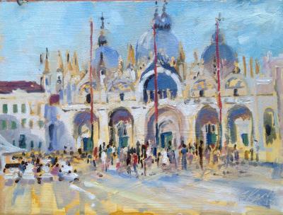 St Mark's Square, Venice.  Oil on board, 6x8 ins