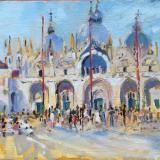 St Mark's Square, Venice.  Oil on board, 6x8 ins