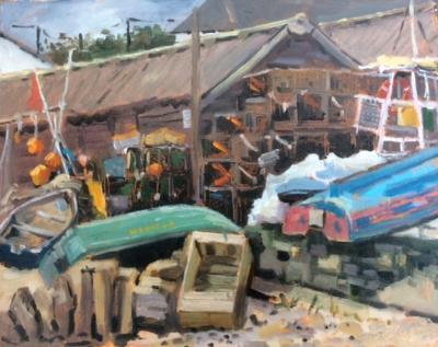 The old fishing village, Swanage, 10x8 ins, oil on board