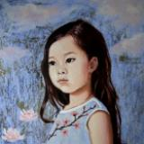 Lily-Rose, 10x8 ins, oils on board with silver leaf
