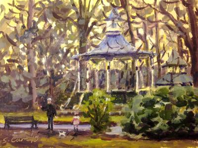 Winter sunset by the Bandstand, OTG, oil on board, 6x8 ins