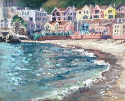 Catalan Bay, oil on board, 10x8 ins.