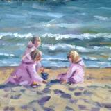 Three Little Girls on Bournemouth Beach, 7x5 ins, oils on board.