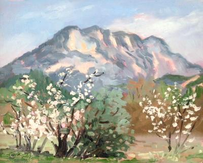 Cezanne's Mountain Aix en Provence, oil on wood, 8x10 ins