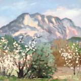 Cezanne's Mountain Aix en Provence, oil on wood, 8x10 ins