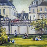 Parade Gardens, Bath, 6x8 ins, oils