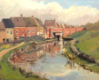 The Canal at Wichelstowe, 8x10 ins, oils on board.