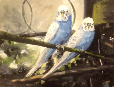 Blue boys, The Aviary, Swindon Old Town Gardens, oil on board, 8x6 ins