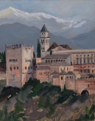 The Alhambra Palace, Granada, Spain, oil on wood, 10x8 ins