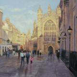 Sunshine & Shadows, Bath Abbey, oils, 16x12 ins