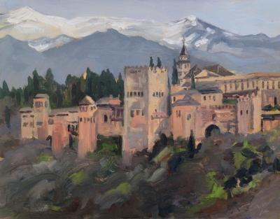 The Alhambra, Granada, Spain, oil on wood, 10x8 ins