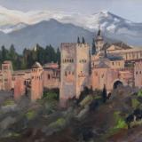 The Alhambra, Granada, Spain, oil on wood, 10x8 ins