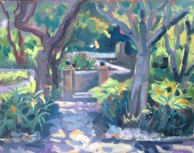 Alameda Gardens 2, 10x8 ins, oil on board.